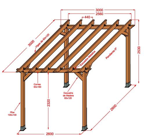 Pergolas de madera medidas creativity - Medidas de pergolas ...